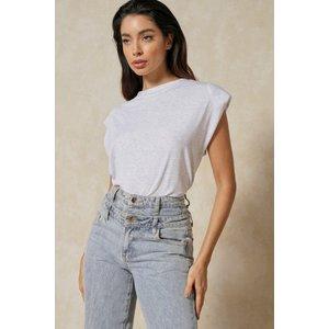 Misspap Shoulder Pad T-shirt Grey Clothing Accessories, grey