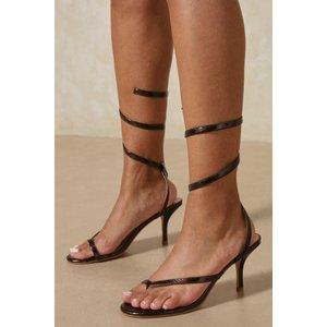 Misspap Snakeskin Wrap Mid Heels Chocolate Shoes, chocolate