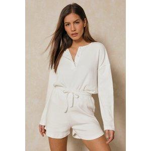 Misspap Fashion Soft Rib Knit Collared Shorts Pj Set Cream Nightwear, cream