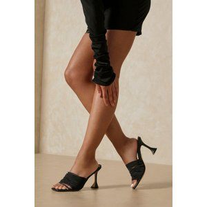 Misspap Designed Strappy Cake Stand Heel Mules Black Shoes, black