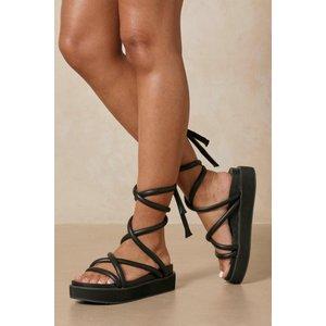Misspap Strappy Platform Flatform Sandals Black Shoes, black