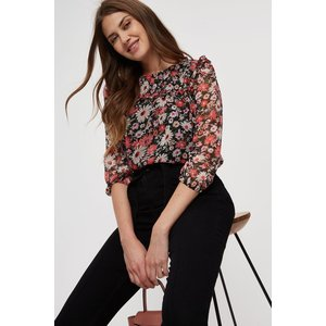 Dorothy Perkins Tall Coral Daisy Print Bubble Sleeve Top Clothing Accessories, coral