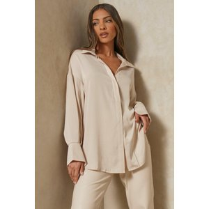 Misspap Designed Tia Premium Satin Relaxed Oversized Shirt Stone Clothing Accessories, stone