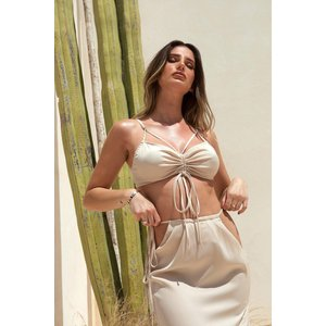 Misspap Designed Tia Premium Satin Strappy Bralette Top Stone Clothing Accessories, stone