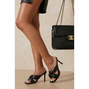 Misspap Designed Twist Front Detail Heeled Mules Black Shoes, black