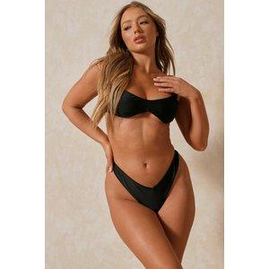 Misspap Fashion Underboob Curved Bikini Top Black General Clothing, black