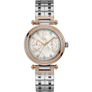 Gc Y78003l1mf Primechic Two Tone Day Date Wristwatch Silver Tone Womens Watches, Silver Tone