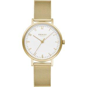 Obaku Brink Lille Gold Tone Women's Wristwatch V248lxgimg Womens Watches, Gold Tone