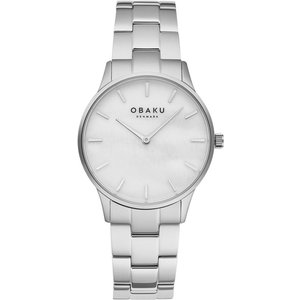 Obaku Lyng Lille Steel Women's Wristwatch V247lxcwsc Silver Tone Womens Watches, Silver Tone