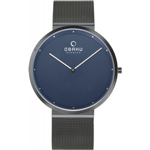 Obaku Papir Shadow Men's Wristwatch V230gxjlmj Wristwatch Blue Mens Watches, Blue