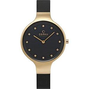 Obaku Sky Medallion Women's Wristwatch V173lxgbmb Black Womens Watches, Black