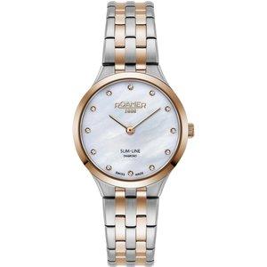 Roamer 512847 49 89 20 Women's Slim Line Diamond Two Tone Bracele Silver Tone Womens Watches, Silver Tone