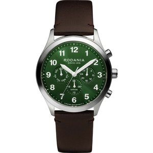 Rodania R19001 Men's Aigle Brown Leather Strap Wristwatch Silver Tone Mens Watches, Silver Tone