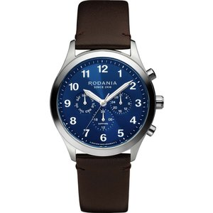 Rodania R19003 Men's Aigle Brown Leather Strap Wristwatch Silver Tone Mens Watches, Silver Tone