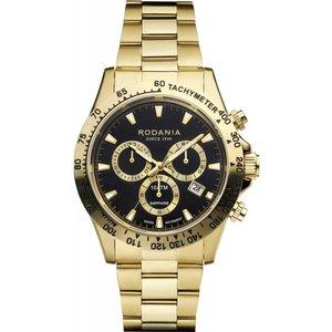 Rodania R21005 Men's Davos Gold Tone Bracelet Wristwatch Black Mens Watches, Black