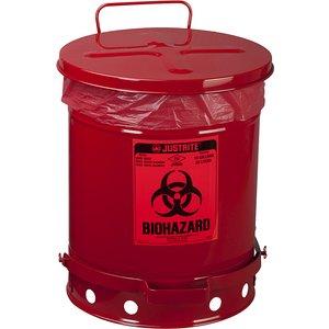 Justrite Sheet Steel Safety Disposal Can For Biohazardous Waste M7529151