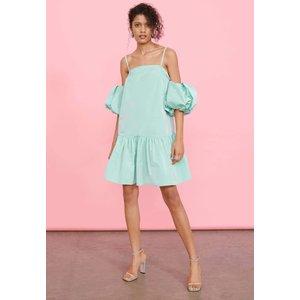 Taffeta Mini Smock Dress With Detachable Puff Sleeves Omnes Uk 100000008249