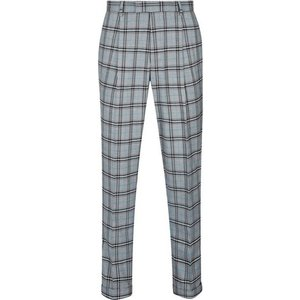 Mens 1904 Dalton Grey Tapered Tealo Check Trousers*, Blue Br49f02pblu 30s, Blue