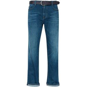 Burton Mens Belted Greencast Logan Straight Fit Jeans, Blue Br12t01oblu 44l, blue