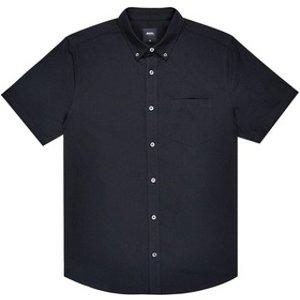 Burton Mens Black Short Sleeve Oxford Shirt, Black Br22o02kblk 5xl, Black