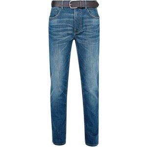 Burton Mens Blue Belted Greencastblake Slim Fit Jeans, Blue Br12l01oblu 30s, Blue