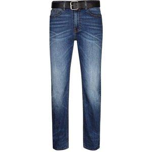 Burton Mens Blue Belted Logan Straight Leg Jeans, Blue Br12t10mblu 28l, Blue