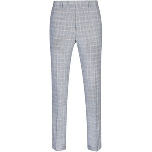 Burton Mens Blue Chambray Tapered Fit Check Trousers, Blue Br23s03onvy 34r, Blue