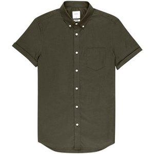 Burton Mens Khaki Muscle Fit Short Sleeve Oxford Shirt, Khaki Br22o03ngrn, KHAKI