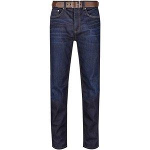 Burton Mens Navy Raw Denim Belted Logan Straight Fit Jeans, Navy Br12t01onvy 44r, NAVY