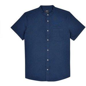 Burton Mens Navy Short Sleeve Grandad Collar Oxford Shirt, Blue Br22o07lnvy Xsm, Blue