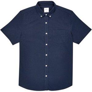 Burton Mens Navy Short Sleeve Oxford Shirt, Blue Br22o02lnvy Xxxl, Blue