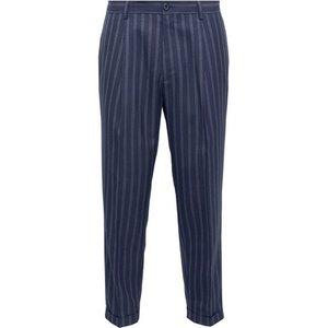 Burton Mens Navy Stripe Tapered Trousers, Blue Br23s12pnvy 34l, Blue