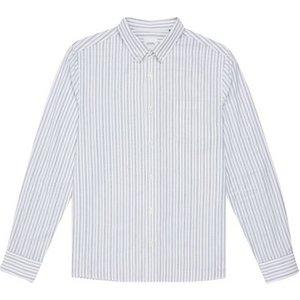 Burton Mens White Long Sleeve Striped Oxford Shirt, White Br22s02pwht Xxl, White