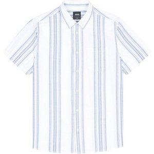 Burton Mens White Short Sleeve Oxford Striped Shirt, White Br22s01pwht Med, White