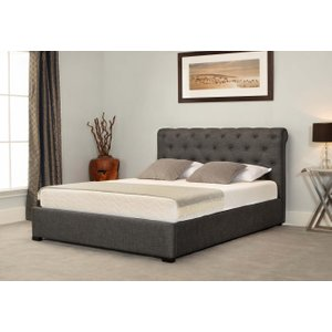 Great Furniture Trading Company Balmoral Grey Low End Scroll Ottoman King Size Bed