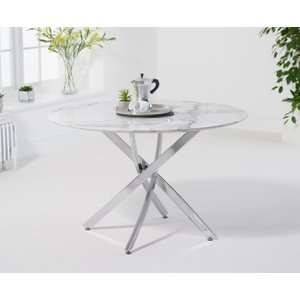 Great Furniture Trading Company Casie 120cm Round White Marble Dining Table