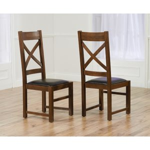 Great Furniture Trading Company Cheshire Dark Solid Oak And Brown Leather Dining Chairs (pairs)