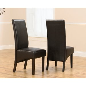 Great Furniture Trading Company Dakota Brown Dark Oak Faux Leather Dining Chairs (pairs)