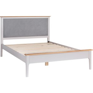 Great Furniture Trading Company Diego Oak And Grey Kingsize Bed Frame With Fabric Headboard