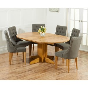 Great Furniture Trading Company Dorchester 120cm Solid Oak Round Extending Dining Table With Charcoal Grey Pacific Fabric