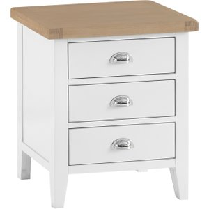 Great Furniture Trading Company Ellen Oak And White Extra Large 3 Drawer Bedside Table