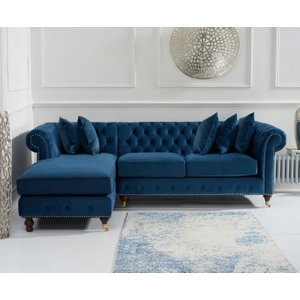 Great Furniture Trading Company Fusion Medium Blue Velvet Left Facing Chesterfield Chaise Sofa