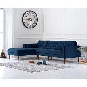 Great Furniture Trading Company Ilana Blue Velvet Left Facing Chaise Sofa