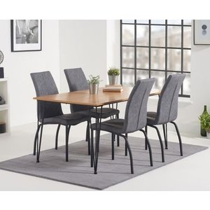 Great Furniture Trading Company Kalmar 150cm Dining Table With Noir Fabric Dining Chairs