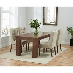 Great Furniture Trading Company Kentucky 150cm Dark Oak Dining Table With Beige Safia Fabric Dark Oak Leg Chairs