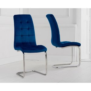 Great Furniture Trading Company Lorin Blue Velvet Dining Chairs