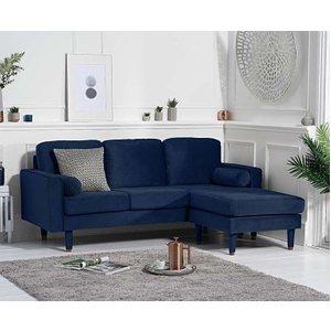 Great Furniture Trading Company Lucas Blue Velvet 3 Seater Reversible Chaise Sofa