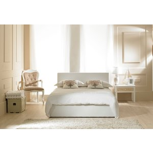 Great Furniture Trading Company Madrid White Faux Leather Ottoman King Size Bed