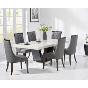 Great Furniture Trading Company Raphael 170cm White And Black Pedestal Marble Dining Table With Angelica Chairs
