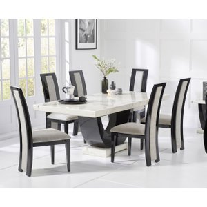 Great Furniture Trading Company Raphael 170cm White And Black Pedestal Marble Dining Table With Raphael Chairs